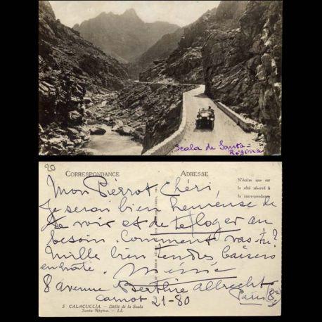 Carte postale 20 - Calacuccia - Voiture dans le defile de la Scala Santa Regina
