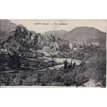 Carte postale 20 - Corte -Corse - Vue generale - Voyage - Dos divise