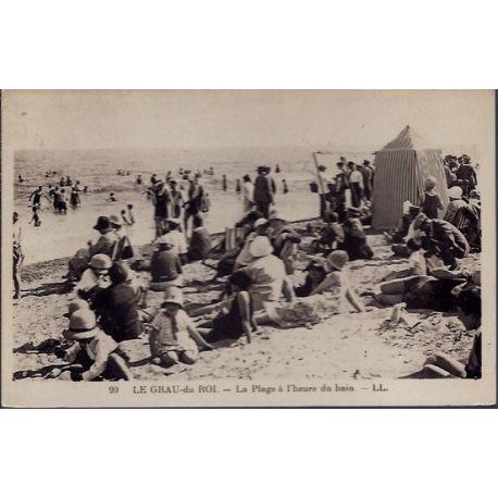 Carte postale 30 - Le Grau-du-Roi - La plage a l'heure du bain - Non voyage - Dos divise...