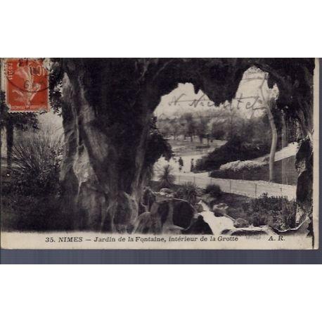 Carte postale 30 - Nimes - jardins de la Fontaine - interieur de la grotte - Voyage - Dos...