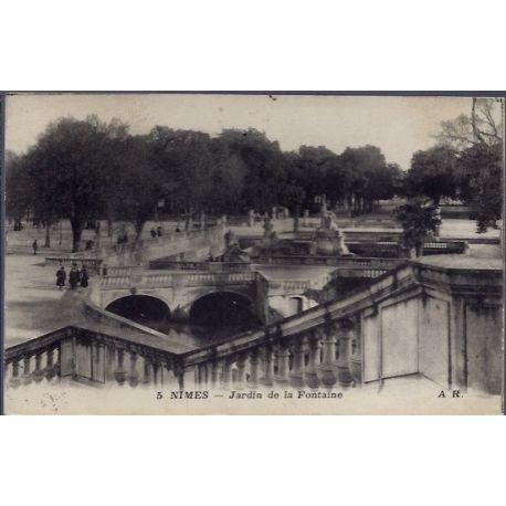 Carte postale 30 - Nimes - jardins de la Fontaine - Voyage - Dos divise...