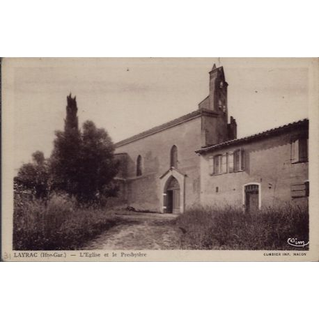 Carte postale 31 - Layrac - Eglise et le Presbytere - Non voyage - Dos divise...