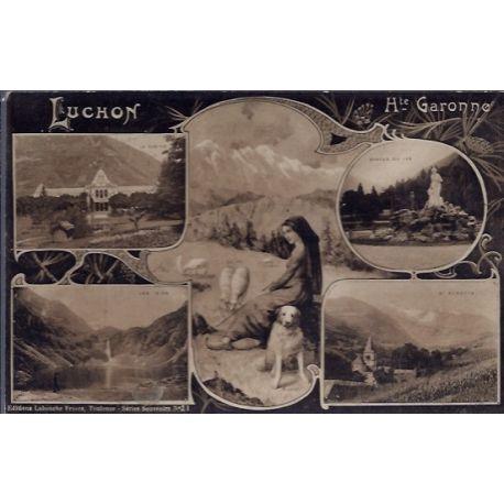 Carte postale 31 - Luchon - differentes vues de la Ville : Le casino - le lac d'oo - Stat...