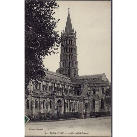 Carte postale 31 - Toulouse - Eglise Saint-Sernin - Voyage - Dos divise...