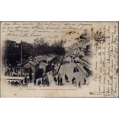 Carte postale 31 - Toulouse - L' Allee Lafayette pendant les foires - Voyage - Dos non di...