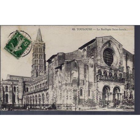 Carte postale 31 - Toulouse - La Basilique Saint-Sernin - Voyage - Dos divise...