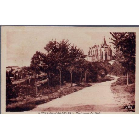 Carte postale 32 - Monclar-d' Agenais - Boulevard du Midi - Non voyage - Dos divise...