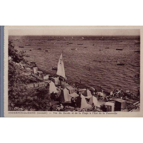 Carte postale 33 - Andernos-les-Bains - vue du bassin et de la plage a l' Est de la pass...