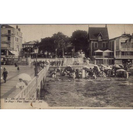 Carte postale 33 - Arcachon - Cote d' argent - la plage - place Thiers - Voyage - Dos di...