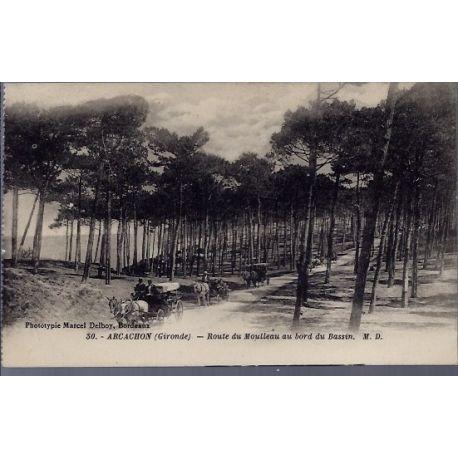 Carte postale 33 - Arcachon - route du Moulleau au bord du bassin - Non voyage - Dos divi...