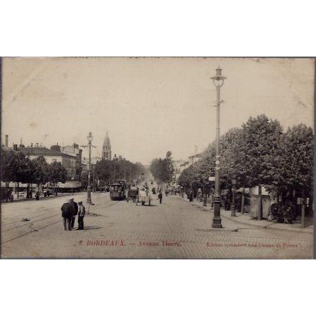 Carte postale 33 - Bordeaux - Avenue Thiers - Voyage - Dos divise...
