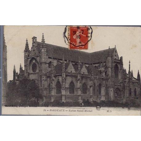 Carte postale 33 - Bordeaux - Eglise Saint-Michel - Voyage - Dos divise...