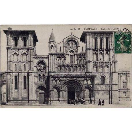 Carte postale 33 - Bordeaux - Eglise Ste-Croix - Voyage - Dos divise