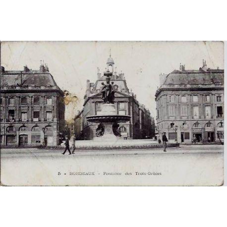 Carte postale 33 - Bordeaux - Fontaine des trois-Graces - Non voyage - Dos divise