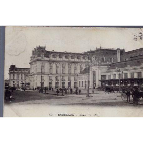 Carte postale 33 - Bordeaux - Gare du Midi - Voyage - Dos divise...