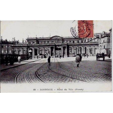 Carte postale 33 - Bordeaux - Hotel de ville ( facade) - Voyage - Dos divise