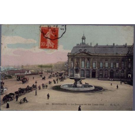 Carte postale 33 - Bordeaux - La Douane et les quais Sud - Voyage - Dos divise...