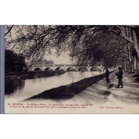 34 - Beziers - La riviere d' Orb - le pont-Canal - Non voyage - Dos divise...
