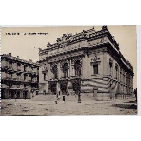 34 - Cette - Le theatre municipal - Non voyage - Dos divise