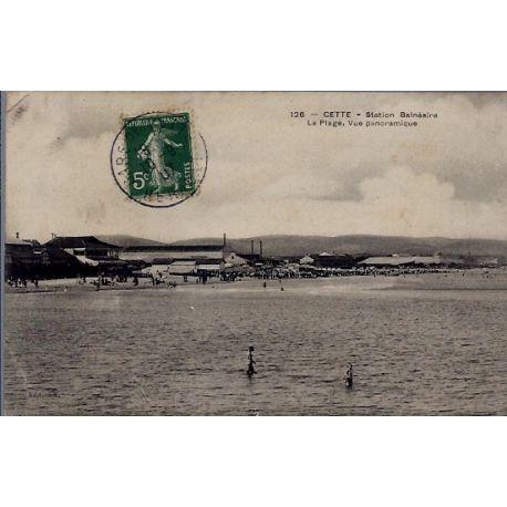 34 - Cette - Station Balneaire - la plage, vue panoramique - Voyage - Dos d...