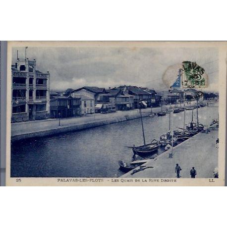 34 - Palavas-les-Flots - les quais de la Rive Droite - Voyage - Dos divise...