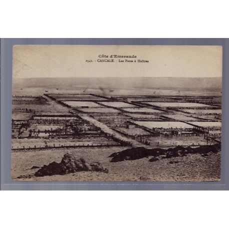 Carte postale 35 - Cancale - Cote d' Emeraude - Les parcs a Huitres - Voyage - Dos divise...
