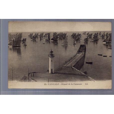 Carte postale 35 - Cancale - Depart de la caravane - Voyage - Dos divise...