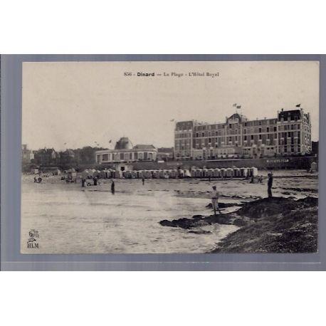 Carte postale 35 - Dinard - La plage - L' Hotel Royal - Non voyage - Dos divise ...