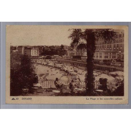 Carte postale 35 - Dinard - La plage et les nouvelles cabines - Voyage - Dos divise...