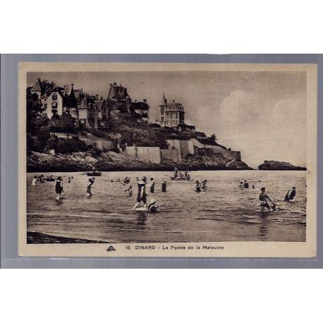 Carte postale 35 - Dinard - La pointe de la Malouine - Non voyage - Dos divise ...