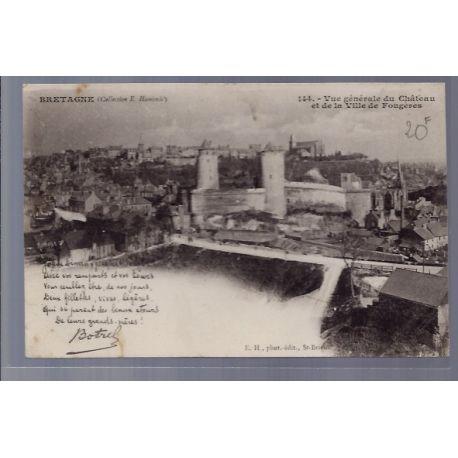 Carte postale 35 - Fougeres - Vue generale du chateau et de la ville de Fougeres - Non vo...
