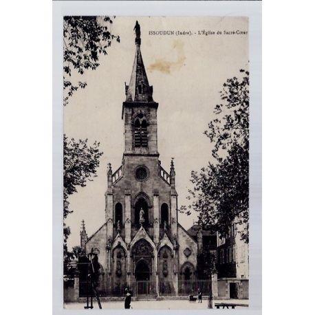 Carte postale 36 - Issoudun - L' eglise du Sacre-Coeur - Voyage - Dos divise...