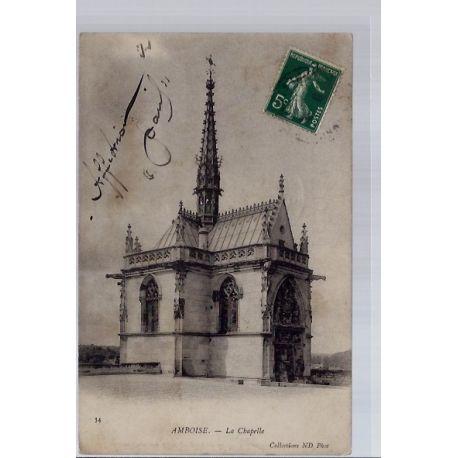 Carte postale 37 - Amboise - La chapelle - Voyage - Dos non divise...