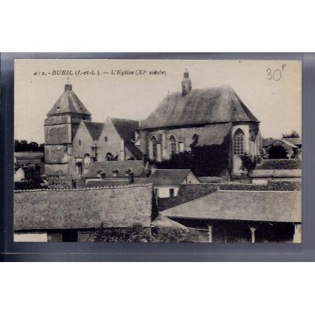 Carte postale 37 - Bueil - l' eglise XIeme siecle - Non voyage - Dos divise...