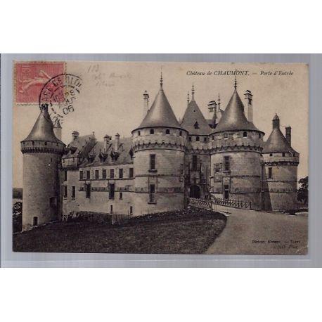 Carte postale 37 - Chateau de Chaumont - Porte d'entree - Voyage - Dos divise...