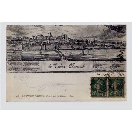 Carte postale 37 - Chinon - le vieux Chinon d'apres une gravure - Voyage - Dos divise...