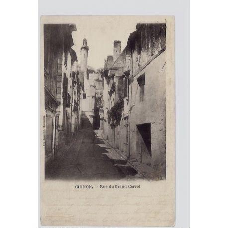 Carte postale 37 - Chinon - Rue du Grand Carroi - Voyage - Dos non divise...