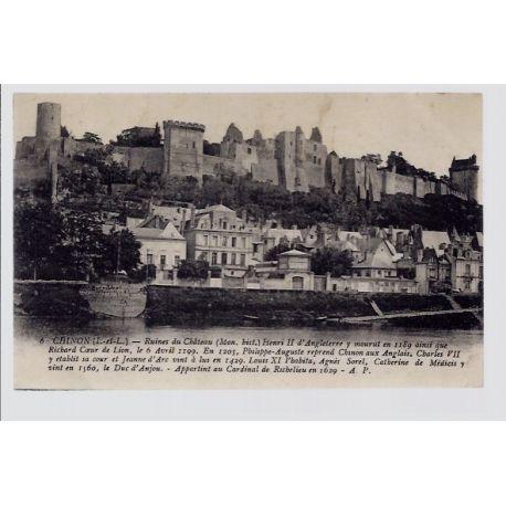 Carte postale 37 - Chinon - ruines du chateau - Voyage - Dos divise...