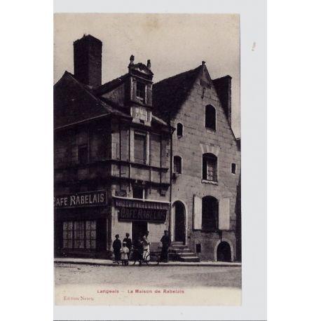 Carte postale 37 - Langeais - La maison de Rabelais - Non voyage - Dos divise...