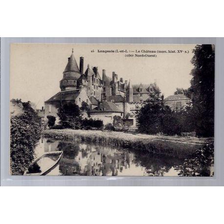 Carte postale 37 - Langeais - Le chateau - cote Nord-Ouest - Non voyage - Dos divise...