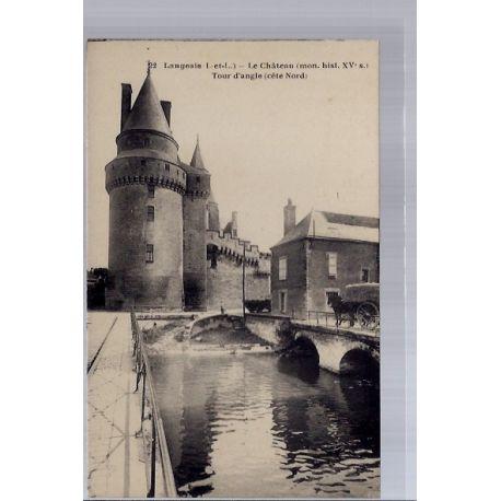 Carte postale 37 - Langeais - Le chateau - tour d' angle cote Nord - Non voyage - Dos div...