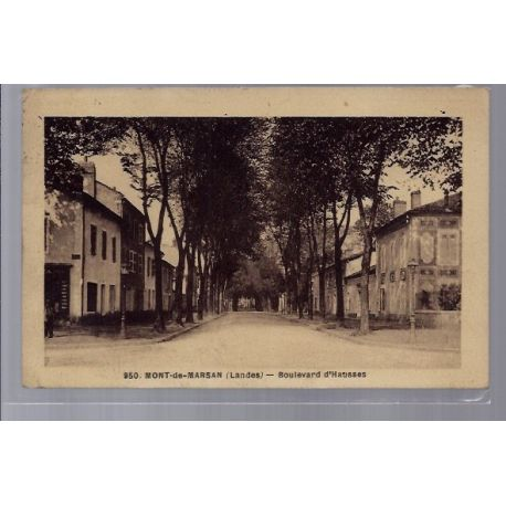 Carte postale 40 - Mont-de-Marsan - Boulevard d' Hausses - Voyage - Dos divise...