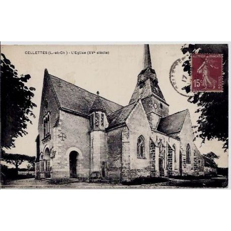 Carte postale 41 - Cellettes - Eglise XVeme siecle - Voyage - Dos divise