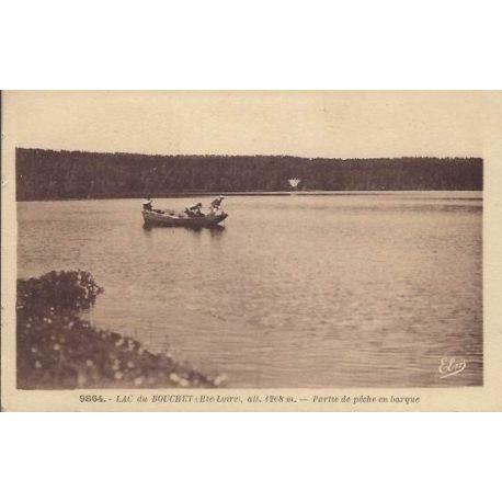 Carte postale 43 - Lac du Bouchet - Partie de peche en barque