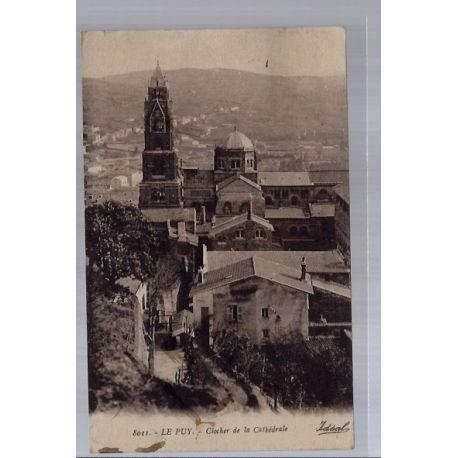 Carte postale 43 - Le Puy - Clocher de la Cathedrale - Voyage - Dos divise...