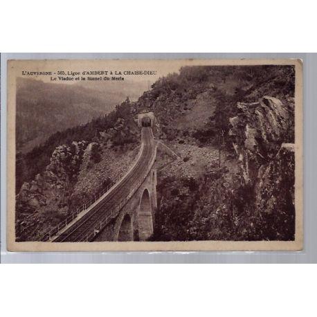 Carte postale 43 - Ligne d' Ambert a la Chaise-Dieu - Le Viaduc et le tunnel du Merle - V...