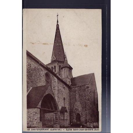 Carte postale 44 - Chateaubriant - Eglise Saint-Jean-de-Bere - Non voyage - Dos divise...