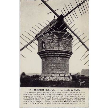 Carte postale 44 - Guerande - Le moulin du diable - Non voyage - Dos divise