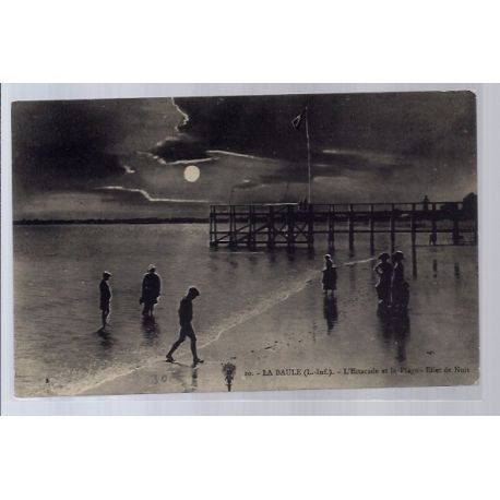 44 - La Baule - L' Estacade et la plage - Effet de nuit - Non voyage - Dos ...