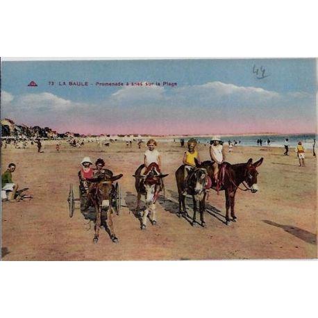 Carte postale 44 - La baule - Promenade a anes sur la plage -Non voyage - Dos divise